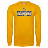 Gold Long Sleeve T Shirt-CSUB Wrestling Stencil