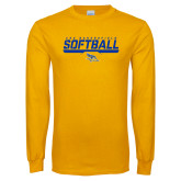 Gold Long Sleeve T Shirt-CSU Bakersfield Softball Stencil
