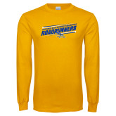 Gold Long Sleeve T Shirt-Slanted Roadrunners Stencil w/ Logo
