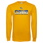 Gold Long Sleeve T Shirt-CSUB Splatter Texture