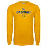 Gold Long Sleeve T Shirt-Baseball Stencil w/ Ball