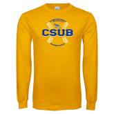 Gold Long Sleeve T Shirt-CSUB Baseball Circle Seams