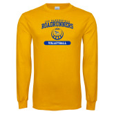 Gold Long Sleeve T Shirt-CSU Bakersfield Roadrunners Arched Volleyball