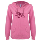 ENZA Ladies Hot Pink V-Notch Raw Edge Fleece Hoodie-Primary Logo Hot Pink Glitter