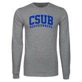 Grey Long Sleeve T Shirt-Arched CSUB Roadrunners