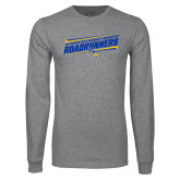 Grey Long Sleeve T Shirt-Slanted Roadrunners Stencil w/ Logo