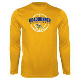 Performance Gold Longsleeve Shirt-Roadrunner Basketball Arched w/ Ball