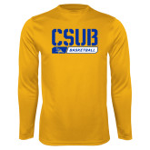 Performance Gold Longsleeve Shirt-CSUB Basketball Stencil