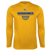 Syntrel Performance Gold Longsleeve Shirt-Roadrunner Basketball Net Icon