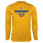 Performance Gold Longsleeve Shirt-Roadrunner Basketball Net Icon