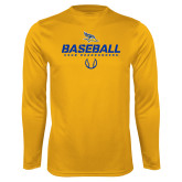Performance Gold Longsleeve Shirt-Baseball Stencil w/ Ball