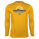 Performance Gold Longsleeve Shirt-CSUB Roadrunners Volleyball Stacked