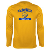 Performance Gold Longsleeve Shirt-CSU Bakersfield Roadrunners Arched Volleyball