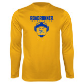 Syntrel Performance Gold Longsleeve Shirt-Roadrunner Wrestling w/ Headgear