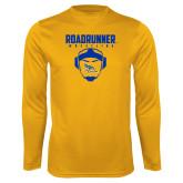 Performance Gold Longsleeve Shirt-Roadrunner Wrestling w/ Headgear
