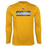 Syntrel Performance Gold Longsleeve Shirt-CSUB Wrestling Stencil