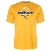Performance Gold Tee-CSUB Roadrunners Volleyball Stacked