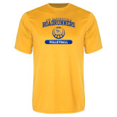 Performance Gold Tee-CSU Bakersfield Roadrunners Arched Volleyball