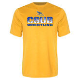 Performance Gold Tee-CSUB Wrestling Stencil