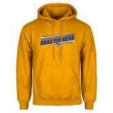 Gold Fleece Hoodie-Slanted Roadrunners Stencil w/ Logo