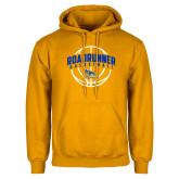 Gold Fleece Hoodie-Roadrunner Basketball Arched w/ Ball