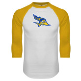 White/Gold Raglan Baseball T-Shirt-Primary Logo