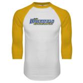 White/Gold Raglan Baseball T-Shirt-CSU Bakersfield Roadrunners