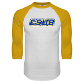 White/Gold Raglan Baseball T-Shirt-CSUB