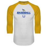 White/Gold Raglan Baseball T-Shirt-Baseball Stencil w/ Ball