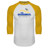 White/Gold Raglan Baseball T-Shirt-CSUB Roadrunners Baseball Seam