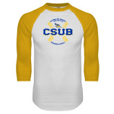 White/Gold Raglan Baseball T-Shirt-CSUB Baseball Circle Seams
