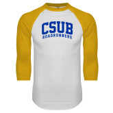 White/Gold Raglan Baseball T-Shirt-Arched CSUB Roadrunners