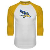White/Gold Raglan Baseball T Shirt-Primary Logo
