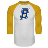 White/Gold Raglan Baseball T Shirt-B
