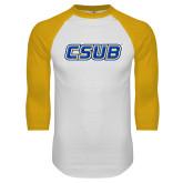 White/Gold Raglan Baseball T Shirt-CSUB