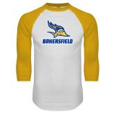 White/Gold Raglan Baseball T Shirt-Roadrunner Head Bakersfield