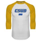 White/Gold Raglan Baseball T Shirt-Dad