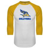 White/Gold Raglan Baseball T Shirt-Volleyball