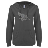 ENZA Ladies Dark Heather V-Notch Raw Edge Fleece Hoodie-Primary Logo Graphite Glitter
