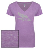 ENZA Ladies Violet Melange V Neck Tee-Primary Logo White Soft Glitter