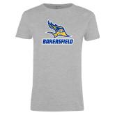 Ladies Grey T Shirt-Roadrunner Head Bakersfield