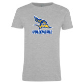Ladies Grey T Shirt-Volleyball