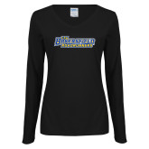 Ladies Black Long Sleeve V Neck T Shirt-CSU Bakersfield Roadrunners