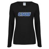 Ladies Black Long Sleeve V Neck Tee-CSUB