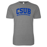 Next Level SoftStyle Heather Grey T Shirt-Arched CSUB Roadrunners