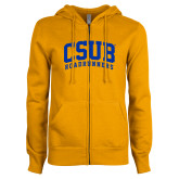 ENZA Ladies Gold Fleece Full Zip Hoodie-Arched CSUB Roadrunners
