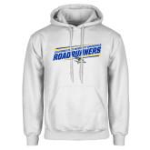 White Fleece Hoodie-Slanted Roadrunners Stencil w/ Logo
