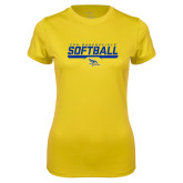 Ladies Syntrel Performance Gold Tee-CSU Bakersfield Softball Stencil