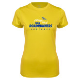 Ladies Syntrel Performance Gold Tee-CSUB Roadrunners Softball Seam