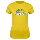 Ladies Syntrel Performance Gold Tee-2017 Western Athletic Conference Champions - Mens Basketball Half Ball